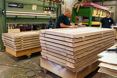 Stacked for the veneer press